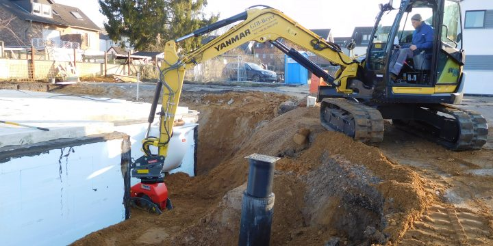 Anfüllen und verdichten eines Kellers inkl. der Entwässerungsanlage